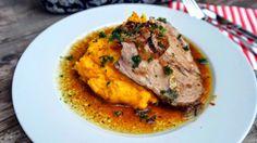 Pečená krkovice špikovaná česnekem a dýňové pyré Hocus Pocus, Smoothie, Curry, Pork, Meat, Chicken, Cooking, Ethnic Recipes, Smoothies
