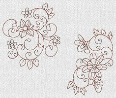 INSTANT DOWNLOAD Flowers and Swirls Redwork by embroiderygirl