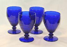 PADEN CITY Glass PENNY LINE Goblets COBALT BLUE Set of 4 #PadenCityDuncanMiller