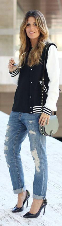 Denim Jeans and a Varsity Jacket! | My Wardrobe In Ruins by Mi Armario En Ruinas
