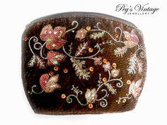 Vintage Brown Velvet Sequin Leaf  by PegsVintageJewellery on Etsy