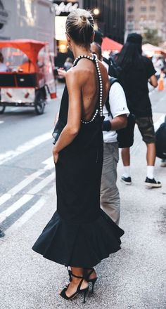 open back black dress.
