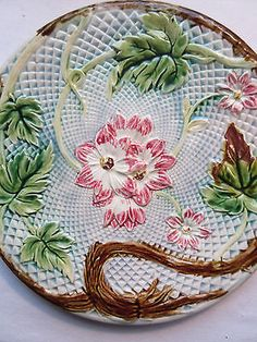 Antique French Majolica Plate: Pink Flowers and Brown Leaves
