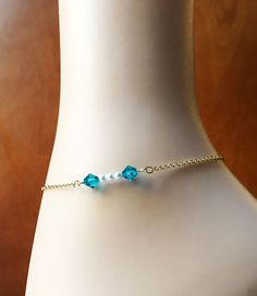 Swarovski Pearl Anklet-Turquoise Bead-16K Gold Plated Chain-Optional Extender-Blue Zircon Anklet-Turquoise Bracelet-Foot Jewelry-Gift Box by Studio007 on Etsy
