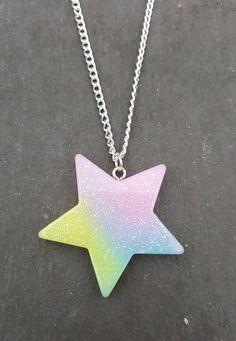 Glitter star necklace, Star necklace, Star pendant, Pendant necklace, Glitter, Star, Pastel, Kawaii, Pastel goth, Fantasy jewellery,