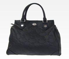 Hello Kitty Black Handbag: Embossed Bows