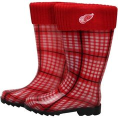 Detroit Red Wings Ladies Rain Boots - Red