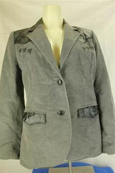 Ms. Pioneer Wear Misses Size 12 Gray Black Corduroy & Leather Western Jacket $99.99