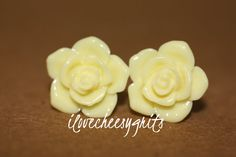 BUTTERCREAM YELLOW ROSE~ Flower Daughter Earring, Flower Girl Gift, Easter, Easter Gift , Spring Fashion, Pastel Earring, ilovecheesygrits