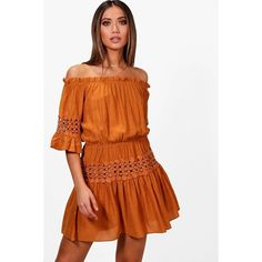 Boohoo Eliza Off The Shoulder Crochet Smock Dress ($11) ❤ liked on Polyvore featuring dresses, off the shoulder cocktail dress, cocktail party dress, midi cocktail dress, body con dress and bodycon midi dress