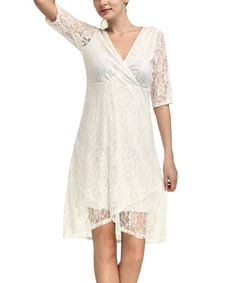 Look at this White Lace Surplice Dress on #zulily today!