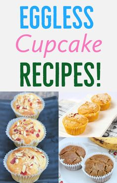 Easy and kid friendly eggless cupcakes. Bake these egg free cupcakes for your kids today! Egg Free Muffins, Egg Free Cupcakes, Egg Free Cookies, Baking Cupcakes, Cupcake Recipes, Delicious Cupcakes, Eggless Desserts, Eggless Recipes, Eggless Baking