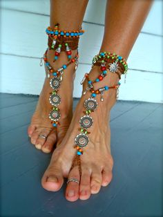 BAREFOOT Bohemian WEDDING barefoot sandals BROWN Toe Anklets crochet Sandals sole less shoes crochet anklets antique flowers