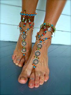 NUpieds sandales pieds nus mariée bohème que bracelets par GPyoga, $76.00