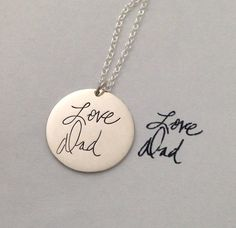 Personalized handwriting engraved necklace in sterling silver (up to 20 characters) She has a five star rating!
