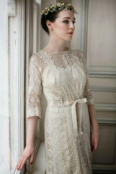 Heavenly Vintage Brides - UK vintage wedding blog: Original Vintage Dresses Edwardian wedding dress in ecru mixed lace, with 1930s slip,  £1350