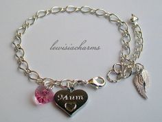 Ooak 'Mum &  Angel Wings Mothers Day' CHARM BRACELET Swarovski. New