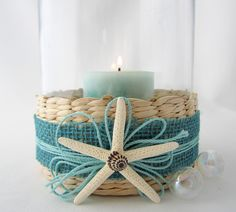 Candle Hurricane Beach Decor - Nautical Sea Grass Hurricane w Starfish / Shell Accent