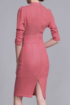 $65.99 Pink Stand Collar Floral Sheath Dressproducts_id:(1000012959 or 1000012417 or 1000012615 or 1000012413)