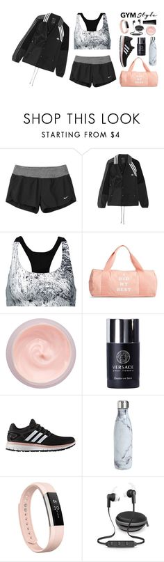 """[gymwear // 9:21 AM]"" by erica-au ❤ liked on Polyvore featuring NIKE, Koral, ban.do, By Terry, Versace, adidas, S'well, Fitbit, iWorld and NARS Cosmetics"