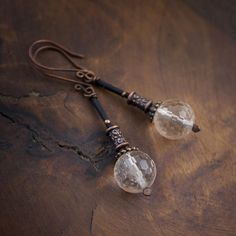 tribal earrings • faceted Quartz • oxidized copper • ethnic • long earrings • wedding • elongated • clear stone bead • boho jewelry