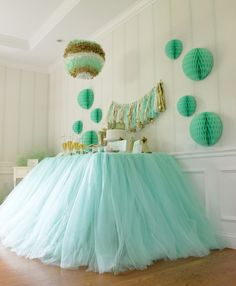 Tulle Table Skirt and Mint Green Color Palette by ennairam