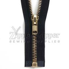 34 Brass #10 34 Inch Metal Zipper Brass Separating Jacket Zipper Heavy Duty Metal Zippers for Jackets Sewing Coats Crafts
