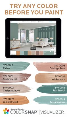 16 Trendy Home Remodeling Apps Small Spaces Interior Paint Colors, Paint Colors For Home, Room Colors, House Colors, Colours, Paint Color Schemes, Sherwin William Paint, Casa Real, House Painting
