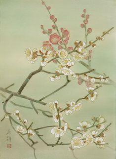花・植物イラスト 植物画 1月 梅 [Kisho Tsukuda]