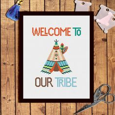 boho tribe Baby cross stitch pattern Baby Welcome by AnnaXStitch