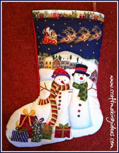 Handmade Quilted Christmas Stockings, quilted to bring the design to life. Personalisation added free of charge. Quilted Christmas Stockings, Red Colour, White Fabrics, Crafts To Make, Making Ideas, Snowman, Couple, Quilts, Paint