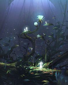 Princess mononoke by Wu Xin Totoro, Mononoke Forest, Art Studio Ghibli, Ghibli Movies, Environment Concept Art, Art Series, Hayao Miyazaki, Anime Scenery, Fantasy Landscape