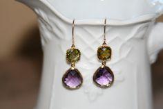 Purple & Green Dangle Earrings by jKlausdesigns on Etsy, $28.00