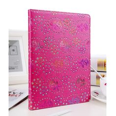 Case with rhinestone flower pattern for