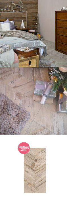 BoCoCa Caramel Varnish Chevron Wood Tiles are a solid porcelain tile in the style of a series of weathered wooden planks, all in a chevron layout. Wood Effect Tiles, Wood Tiles, Wooden Flooring, Ideal Home Show, Feature Tiles, Set Cover, House And Home Magazine, Wall Spaces, Christmas 2017