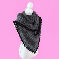 Licorice Shawl from Crochet Cardigan, Knit Or Crochet, Crochet Scarves, Crochet Shawl, Crochet Clothes, Crochet Hooks, Free Crochet, Crochet Dolls Free Patterns, Crochet Square Patterns