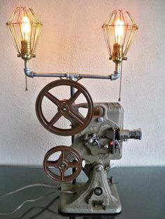 Vintage Projector Double Lamp Light Upcycled Machine Age Industrial Steampunk on Etsy, $225.00