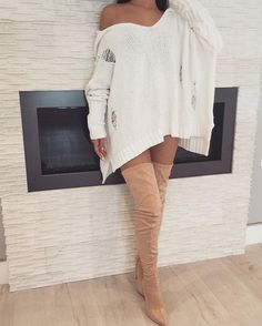 JUST IN | Claire Distressed Hoodie Sweater + Stella Suede Boots #zieboutique #newarrivals #nudestyles #fallcollection