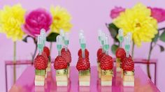 Fruit towers with Kool-Aid pipettes