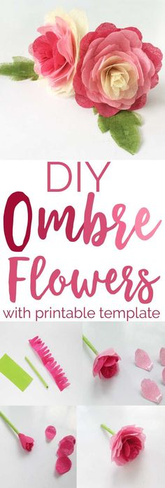 This gorgeous DIY Ombre Tissue Paper Rose tutorial is perfect for adding to your home decor, could decorate a picture frame or wreath or even a garland! #crafts #valentinesdaycrafts