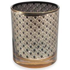 Photophore en verre noir/doré H 8 cm MILORD