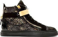 Giuseppe Zanotti Gold Snakeprint High Top