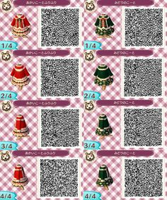 Christmas red girls dress sweater scarf Clothes purse neutral jacket QR code ac3ds animal crossing new leaf new leaf acnl acjo glong bluegreen pinkpurple cardi gshort