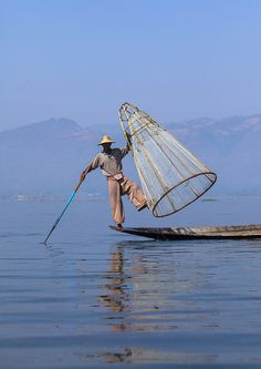 Traditional Fisherman With Fish Trap In Boat, Inle Lake, Myanmar | Flickr - Photo Sharing!
