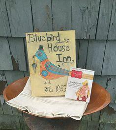Antique folk art farmhouse sign  bluebird bird by BradyBearsStudio