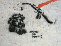 Editorial image of 'Jesus, Christ, gas, gasoline, petrol, graffiti, paint, art, street art, mural, 2011, Portugal, Lisbon, Lisboa, Lissabon, Lisbonne, Lisbona,'