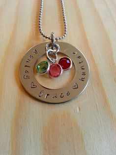 Personalized hand stamped washer necklace.  Personalized jewerly for mom nana grandma