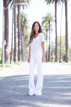 Summer Outfit Idea: White Jeans - Aimee Song wearing a casual white t-shirt + matching white flare leg jeans