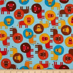 Final choice for quilt - Urban Zoologie Lion's Bermuda from @fabricdotcom  Designed by Ann Kelle for Robert Kaufman Fabrics,