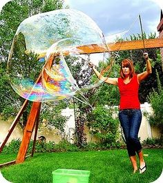 Make giant bubble wands and bubbles (Okay Sarah we are going to try this at our next playdate! Craft Activities For Kids, Summer Activities, Projects For Kids, Crafts For Kids, Craft Ideas, Water Activities, Indoor Activities, Fun Crafts, Diy Projects
